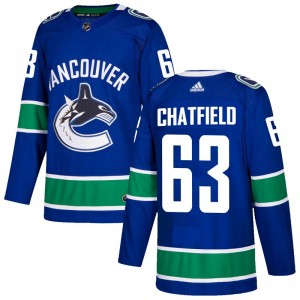 Men's Vancouver Canucks Jalen Chatfield Adidas Authentic Home Jersey - Blue