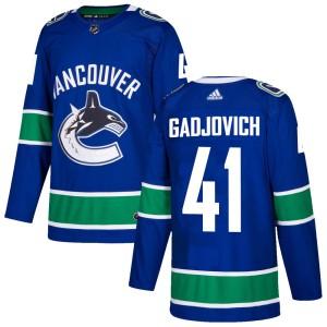 Men's Vancouver Canucks Jonah Gadjovich Adidas Authentic Home Jersey - Blue