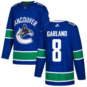Men's Vancouver Canucks Conor Garland Adidas Authentic Home Jersey - Blue