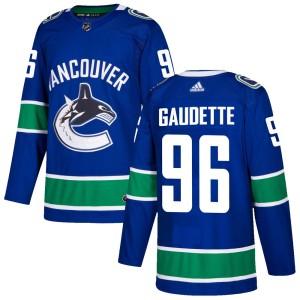 Men's Vancouver Canucks Adam Gaudette Adidas Authentic Home Jersey - Blue