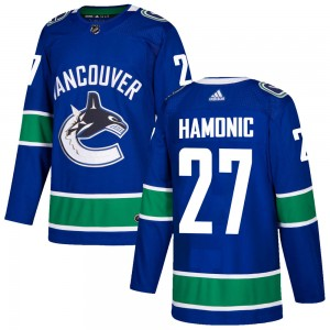 Men's Vancouver Canucks Travis Hamonic Adidas Authentic Home Jersey - Blue