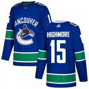 Men's Vancouver Canucks Matthew Highmore Adidas Authentic Home Jersey - Blue