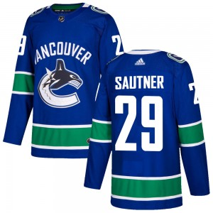 Men's Vancouver Canucks Ashton Sautner Adidas Authentic Home Jersey - Blue