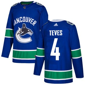 Men's Vancouver Canucks Josh Teves Adidas Authentic Home Jersey - Blue
