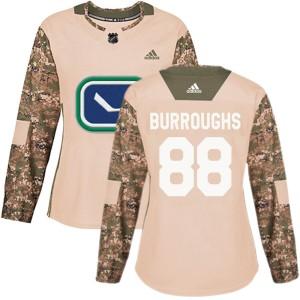 Women's Vancouver Canucks Kyle Burroughs Adidas Authentic Veterans Day Practice Jersey - Camo