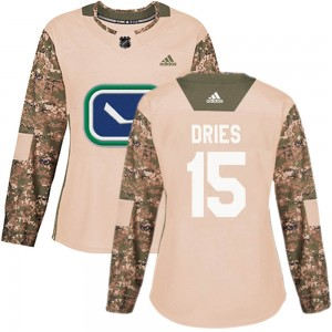 Women's Vancouver Canucks Sheldon Dries Adidas Authentic Veterans Day Practice Jersey - Camo