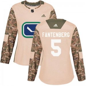 Women's Vancouver Canucks Oscar Fantenberg Adidas Authentic Veterans Day Practice Jersey - Camo