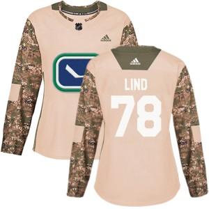 Women's Vancouver Canucks Kole Lind Adidas Authentic Veterans Day Practice Jersey - Camo