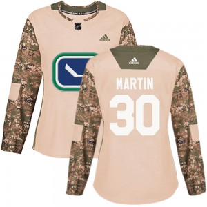 Women's Vancouver Canucks Spencer Martin Adidas Authentic Veterans Day Practice Jersey - Camo