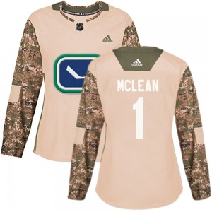 Women's Vancouver Canucks Kirk Mclean Adidas Authentic Veterans Day Practice Jersey - Camo