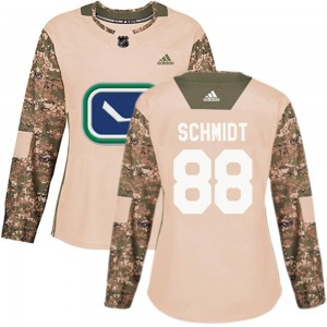 Women's Vancouver Canucks Nate Schmidt Adidas Authentic Veterans Day Practice Jersey - Camo
