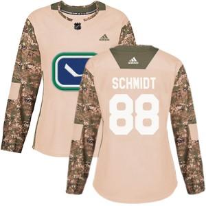 Women's Vancouver Canucks Nate Schmidt Adidas Authentic Veterans Day Practice Jersey - Camo