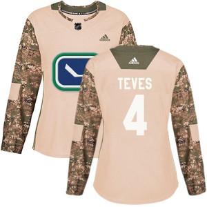 Women's Vancouver Canucks Josh Teves Adidas Authentic Veterans Day Practice Jersey - Camo