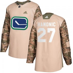 Men's Vancouver Canucks Travis Hamonic Adidas Authentic Veterans Day Practice Jersey - Camo