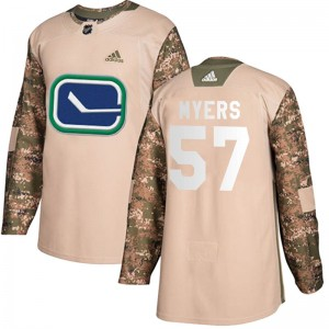 Men's Vancouver Canucks Tyler Myers Adidas Authentic Veterans Day Practice Jersey - Camo