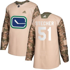 Men's Vancouver Canucks Troy Stecher Adidas Authentic Veterans Day Practice Jersey - Camo