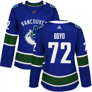 Women's Vancouver Canucks Travis Boyd Adidas Authentic Home Jersey - Blue