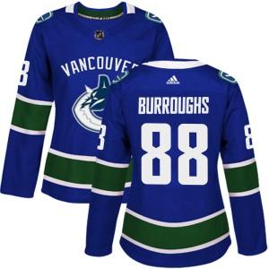Women's Vancouver Canucks Kyle Burroughs Adidas Authentic Home Jersey - Blue
