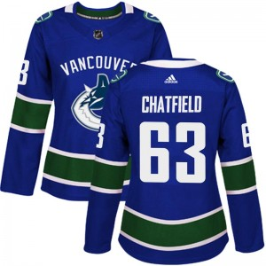 Women's Vancouver Canucks Jalen Chatfield Adidas Authentic Home Jersey - Blue