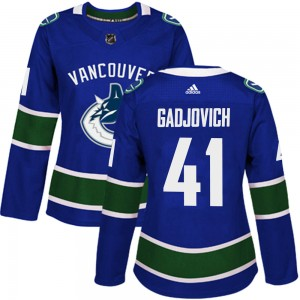 Women's Vancouver Canucks Jonah Gadjovich Adidas Authentic Home Jersey - Blue