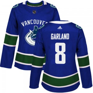 Women's Vancouver Canucks Conor Garland Adidas Authentic Home Jersey - Blue