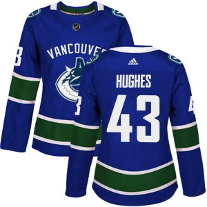 Women's Vancouver Canucks Quinn Hughes Adidas Authentic Home Jersey - Blue