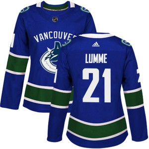 Women's Vancouver Canucks Jyrki Lumme Adidas Authentic Home Jersey - Blue
