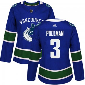 Women's Vancouver Canucks Tucker Poolman Adidas Authentic Home Jersey - Blue