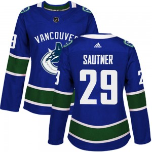 Women's Vancouver Canucks Ashton Sautner Adidas Authentic Home Jersey - Blue