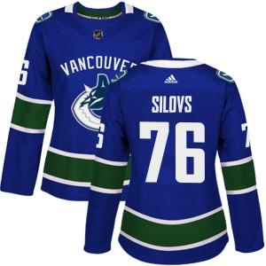 Women's Vancouver Canucks Arturs Silovs Adidas Authentic Home Jersey - Blue