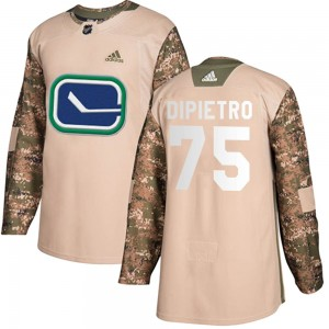 Youth Vancouver Canucks Michael DiPietro Adidas Authentic Veterans Day Practice Jersey - Camo