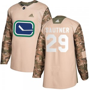 Youth Vancouver Canucks Ashton Sautner Adidas Authentic Veterans Day Practice Jersey - Camo