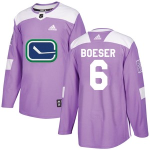 Men's Vancouver Canucks Brock Boeser Adidas Authentic Fights Cancer Practice Jersey - Purple