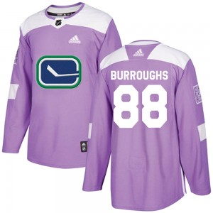Men's Vancouver Canucks Kyle Burroughs Adidas Authentic Fights Cancer Practice Jersey - Purple