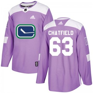 Men's Vancouver Canucks Jalen Chatfield Adidas Authentic Fights Cancer Practice Jersey - Purple