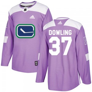 Men's Vancouver Canucks Justin Dowling Adidas Authentic Fights Cancer Practice Jersey - Purple