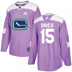 Men's Vancouver Canucks Sheldon Dries Adidas Authentic Fights Cancer Practice Jersey - Purple