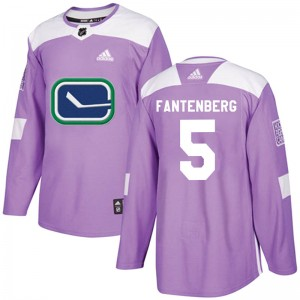 Men's Vancouver Canucks Oscar Fantenberg Adidas Authentic Fights Cancer Practice Jersey - Purple