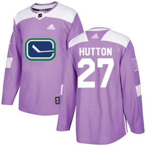 Men's Vancouver Canucks Ben Hutton Adidas Authentic Fights Cancer Practice Jersey - Purple