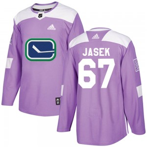 Men's Vancouver Canucks Lukas Jasek Adidas Authentic Fights Cancer Practice Jersey - Purple