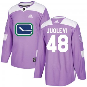 Men's Vancouver Canucks Olli Juolevi Adidas Authentic ized Fights Cancer Practice Jersey - Purple