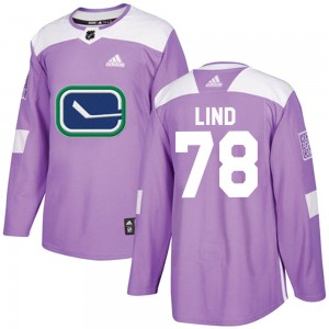 Men's Vancouver Canucks Kole Lind Adidas Authentic Fights Cancer Practice Jersey - Purple