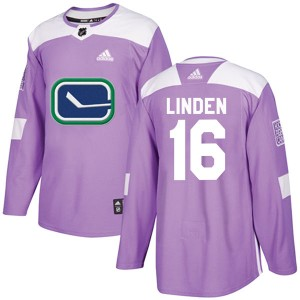 Men's Vancouver Canucks Trevor Linden Adidas Authentic Fights Cancer Practice Jersey - Purple
