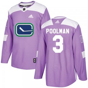 Men's Vancouver Canucks Tucker Poolman Adidas Authentic Fights Cancer Practice Jersey - Purple