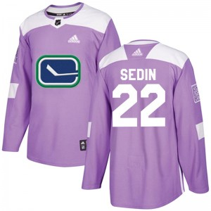 Men's Vancouver Canucks Daniel Sedin Adidas Authentic Fights Cancer Practice Jersey - Purple