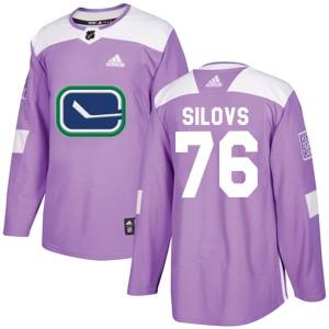 Men's Vancouver Canucks Arturs Silovs Adidas Authentic Fights Cancer Practice Jersey - Purple