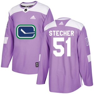 Men's Vancouver Canucks Troy Stecher Adidas Authentic Fights Cancer Practice Jersey - Purple