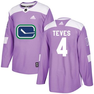 Men's Vancouver Canucks Josh Teves Adidas Authentic Fights Cancer Practice Jersey - Purple