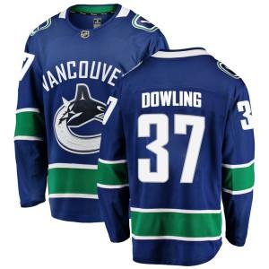 Men's Vancouver Canucks Justin Dowling Fanatics Branded Breakaway Home Jersey - Blue