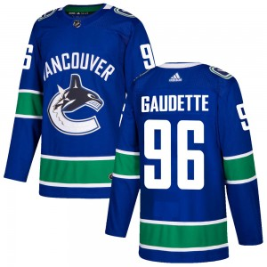 Youth Vancouver Canucks Adam Gaudette Adidas Authentic Home Jersey - Blue
